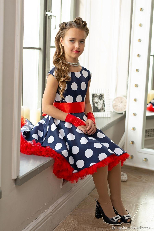 Нарядное платье для девочек Ретро в стиле стиляг в горох