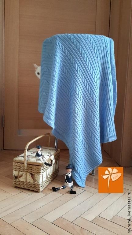 """Пледы и одеяла ручной работы. Ярмарка Мастеров - ручная работа. Купить Детское вязаное одеяло """"Голубой плюш"""". Для детей. Для мальчика.. Handmade."""
