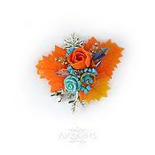 Украшения handmade. Livemaster - original item Brooch orange-blue with maple leaves