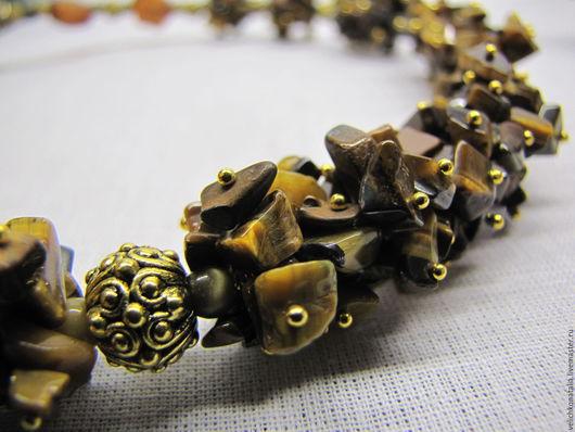 """Колье, бусы ручной работы. Ярмарка Мастеров - ручная работа. Купить ожерелье """"тигриная охота"""". Handmade. Коричневый, колье"""
