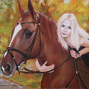 Картины и панно ручной работы. Ярмарка Мастеров - ручная работа Портрет с лошадью на заказ, пастель, 30х40. Handmade.
