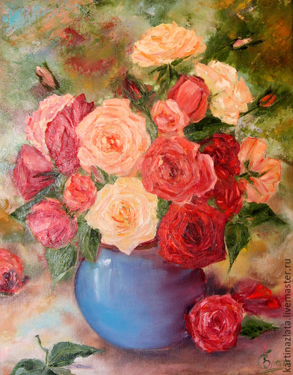 'Pink mood ' oil painting with roses on canvas, Pictures, Azov,  Фото №1