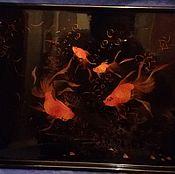 """Винтаж ручной работы. Ярмарка Мастеров - ручная работа Винтажный поднос """"Золотые рыбки"""" китайский лак,роспись-редкость. Handmade."""