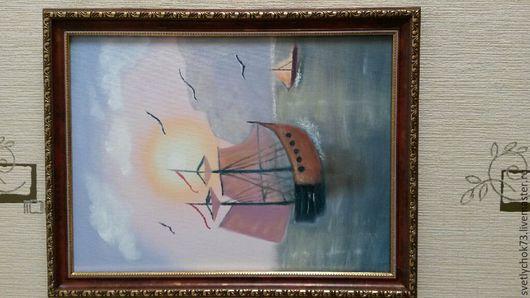 """Фотокартины ручной работы. Ярмарка Мастеров - ручная работа. Купить Картина маслом """"Восход"""". Handmade. Море, восход, холст"""