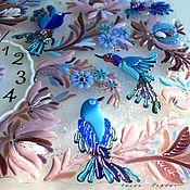 Для дома и интерьера ручной работы. Ярмарка Мастеров - ручная работа панно - часы  из стекла, фьюзинг Райские птички. Handmade.