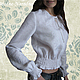 Льняная блуза с ручной вышивкой Нежная-Белоснежная.\r\nТворческое ателье Modne-Narodne. Модная одежда с ручной вышивкой.