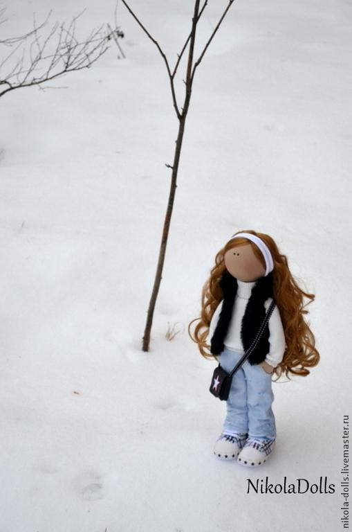 Человечки ручной работы. Ярмарка Мастеров - ручная работа. Купить Текстильная кукла (портретная). Handmade. Голубой, кукла на заказ