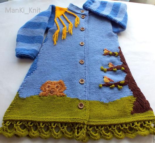Одежда для девочек, ручной работы. Ярмарка Мастеров - ручная работа. Купить пальто  День и ночь вязаное для девочки. Handmade. Голубой