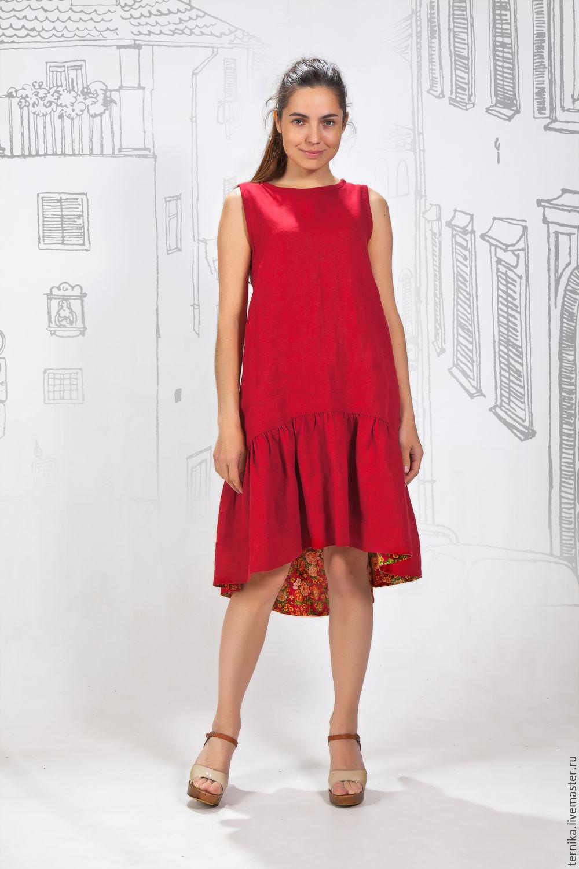 Платье льняное на цветочной подкладке, Платья, Бийск,  Фото №1
