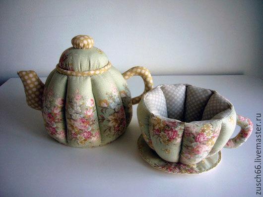 Кухня ручной работы. Ярмарка Мастеров - ручная работа. Купить Чайная посуда текстильная. Handmade. Мятный, чайник из ткани
