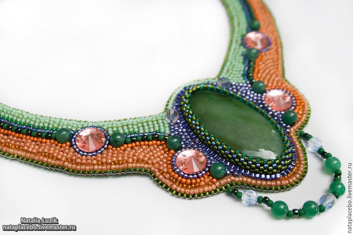 Beaded necklace Summer green orange violet, Necklace, St. Petersburg,  Фото №1