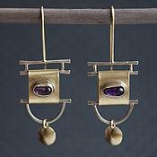 Серьги классические ручной работы. Ярмарка Мастеров - ручная работа Серьги с аметистами подвижные. Handmade.