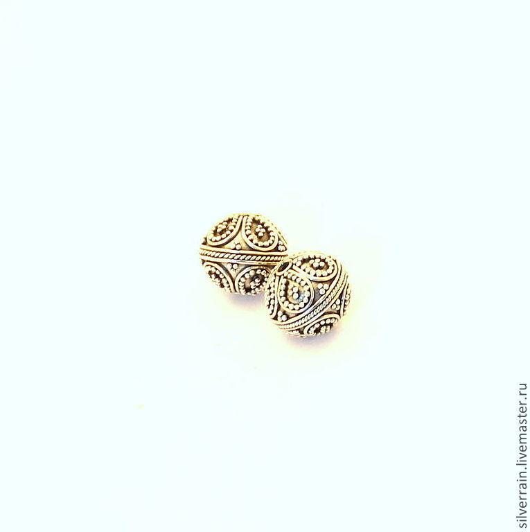 Бусина круглая серебро 925 Бали, Фурнитура, Екатеринбург, Фото №1