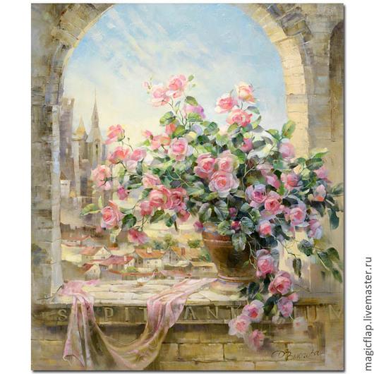 Вышивка ручной работы. Ярмарка Мастеров - ручная работа. Купить Алмазная вышивка (мозаика) Старинные розы в кашпо. Античный пейзаж. Handmade.