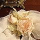 украшение брошь цветок, цветы из ткани, цветы из шелка брошь роза. розовая роза брошь, кремовая роза брошка. брошь заколка роза,цветок из ткани роза  роза в прическу  брошка роза из ткани  шелковая