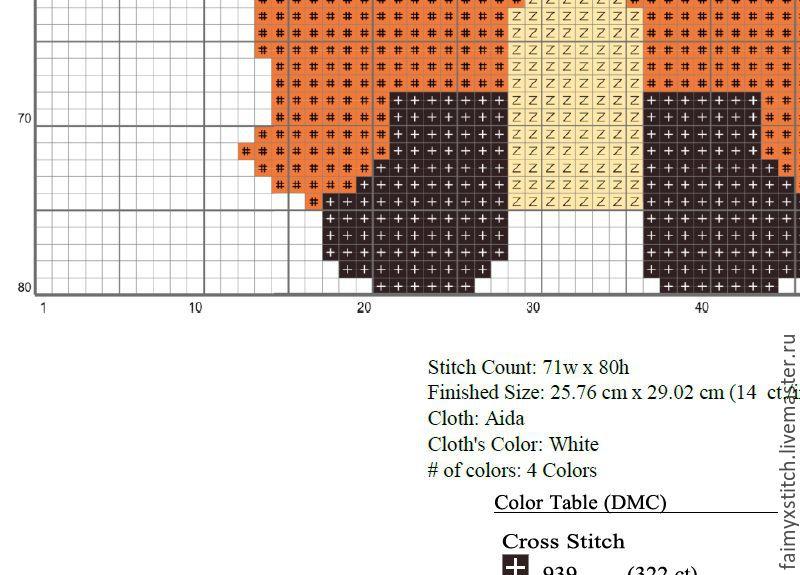Схемы для вышивки крестиком лисёнок