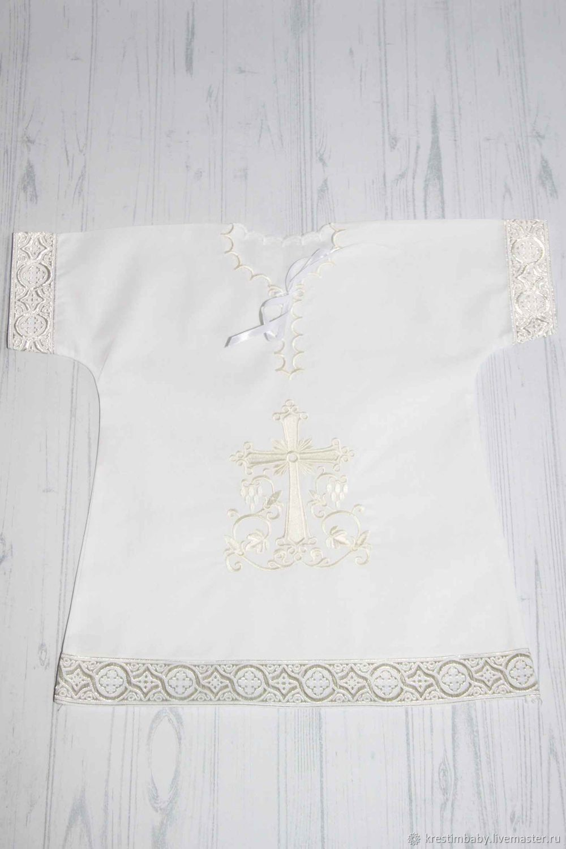 Крестильная рубашка с армянским крестом (платина), Комплект для крещения, Москва,  Фото №1