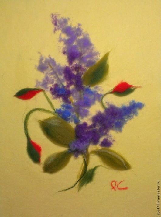 """Картины цветов ручной работы. Ярмарка Мастеров - ручная работа. Купить Картина шерстью """"С Праздником"""". Handmade. Фиолетовый, цветы"""