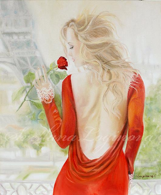 Город ручной работы. Ярмарка Мастеров - ручная работа. Купить Картина маслом Запах Парижа.... Handmade. Ярко-красный