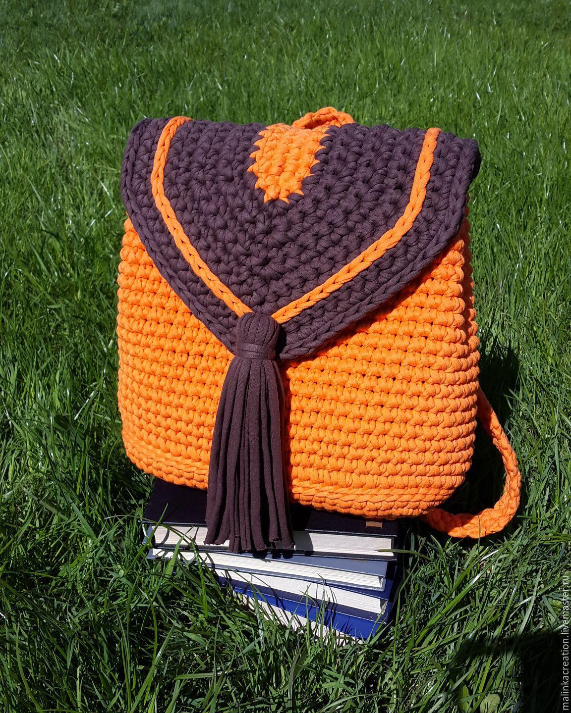 Стильный вязаный рюкзачок Orange из трикотажной пряжи ...