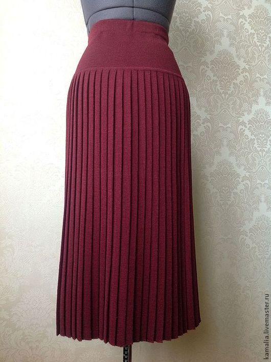 Юбки ручной работы. Ярмарка Мастеров - ручная работа. Купить Плиссированная трикотажная юбка. Handmade. Бордовый, однотонный, юбка вязаная