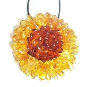 Украшения handmade. Livemaster - original item Baltic Amber flower brooch amber pendant 2 in one gift girl woman. Handmade.