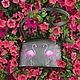 Женская кожаная сумка из натуральной кожи с металлизированным эффектом Фламинго