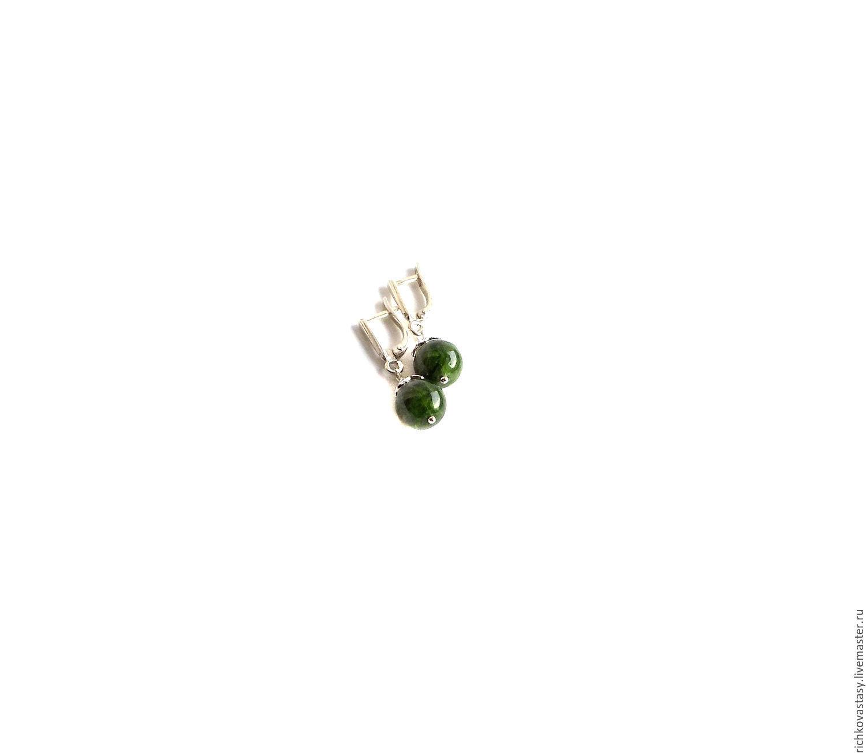 Earrings Green diopside, Earrings, Kirov,  Фото №1