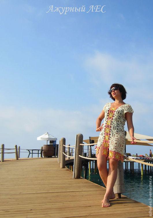 Пляжные туники ручной работы. Ярмарка Мастеров - ручная работа. Купить Пляжная ажурная туника, платье. Handmade. Белый