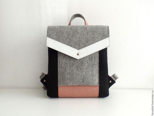 Рюкзаки ручной работы. Ярмарка Мастеров - ручная работа. Купить Черно-серый рюкзак из фетра и натуральной кожи. Handmade. сумка