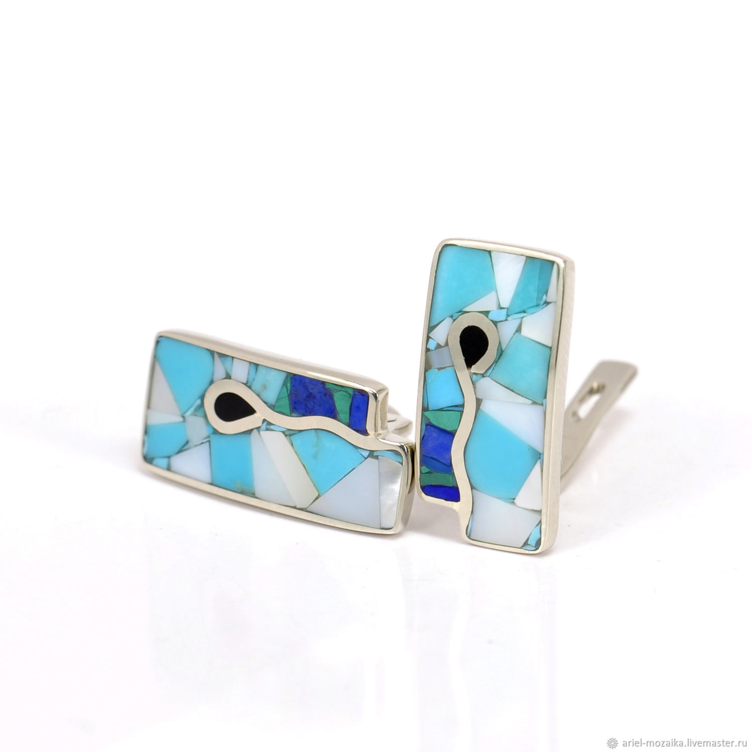 EARRINGS with turquoise, white mother of pearl, lapis lazuli and malachite, Earrings, Moscow,  Фото №1