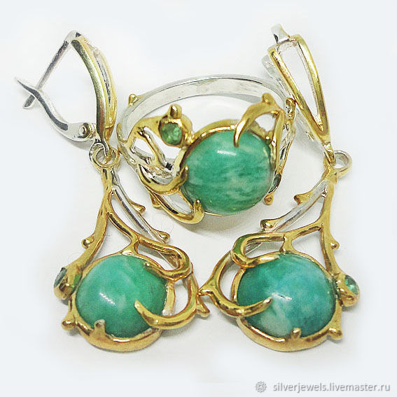 Set in 925 sterling silver with natural amazonites and emeralds, Jewelry Sets, Moscow,  Фото №1