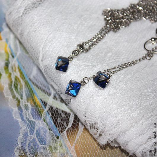Клипсы -серьги на цепочках  и кулон `Мираж` комплект украшений. 1320р. Подарок девушке.Модная бижутерия.Украшения с эффектом хамелеон.Комплект изменяющий цвет.