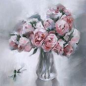 Картины и панно handmade. Livemaster - original item Painting Peonies in a vase (pale pink gray flowers). Handmade.