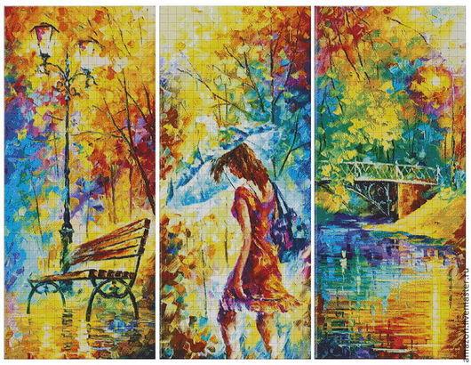 """Вышивка ручной работы. Ярмарка Мастеров - ручная работа. Купить Набор для  вышивания бисером """"Осень""""(триптих) худ. Л.Алфёров. Handmade."""