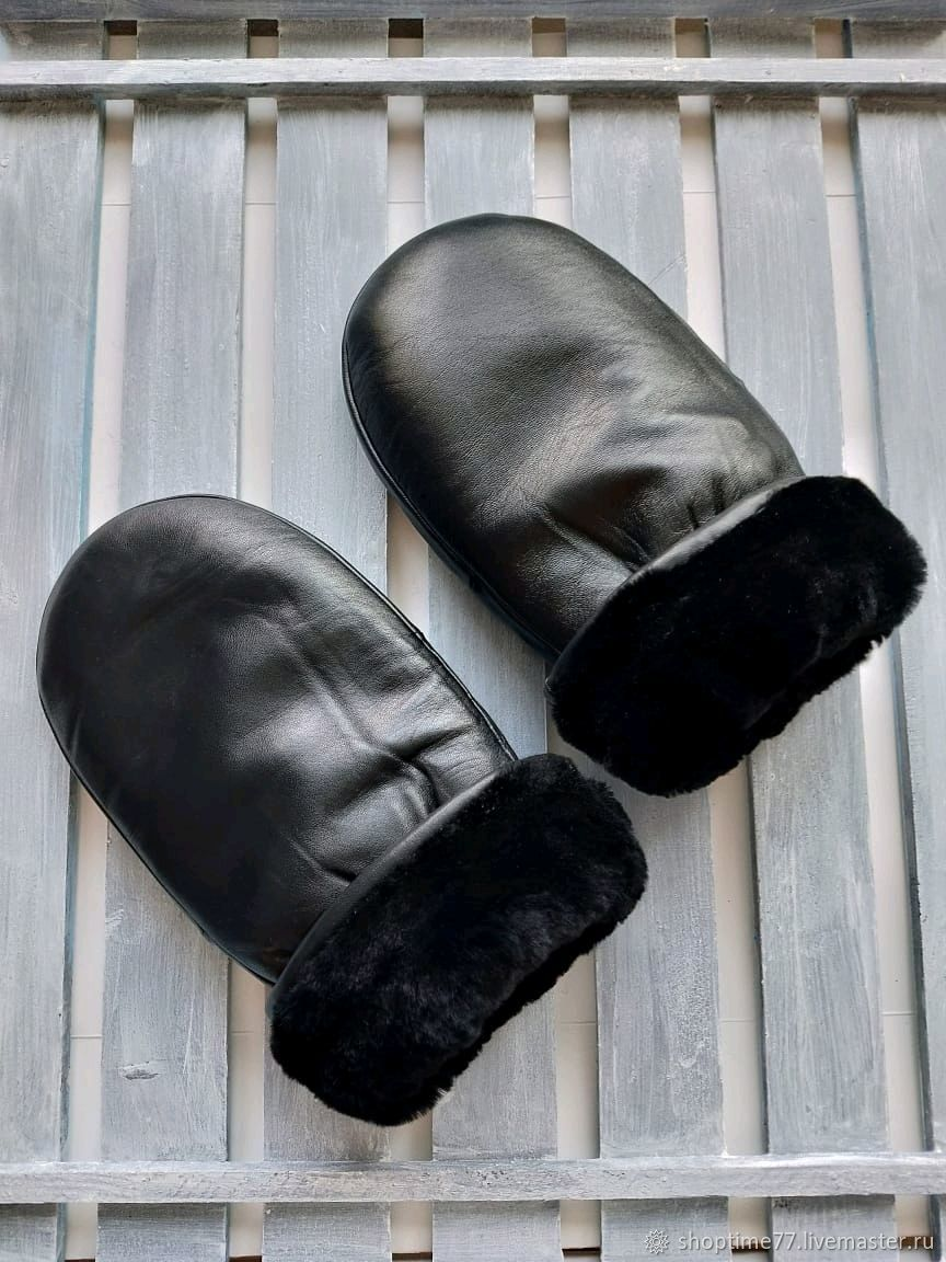 Рукавицы, варежки мужские из кожи на натуральном меху, черного цвета, Варежки, Москва,  Фото №1