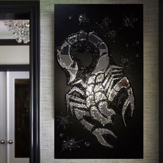 Абстракция ручной работы. Ярмарка Мастеров - ручная работа. Купить Скорпион. Handmade. Черный, панно, гороскоп, стекло, акрил, глазурь
