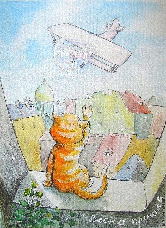 Кот самолет и весна Принт Репродукция картины, Картины, Санкт-Петербург,  Фото №1