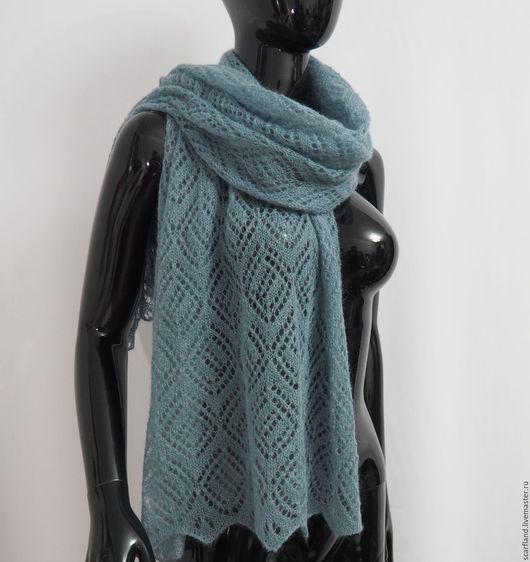 Шарфы и шарфики ручной работы. Ярмарка Мастеров - ручная работа. Купить Ажурный шарф из кид-мохера. Handmade. Голубой, паутинка