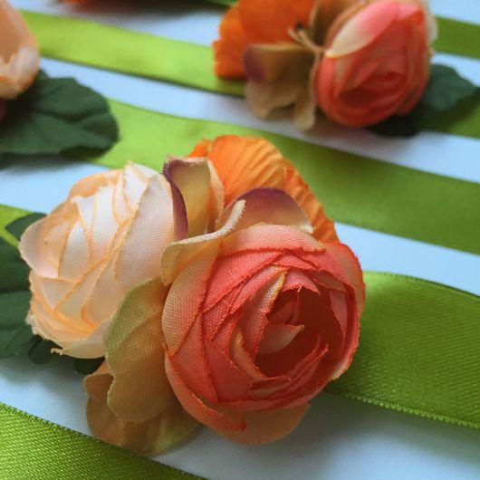 Браслеты ручной работы. Ярмарка Мастеров - ручная работа. Купить Браслет с цветами оранжевый. Handmade. Браслет, цветочный браслет