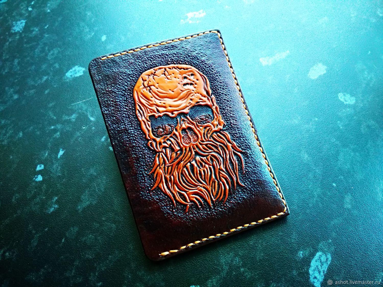 Leather cardholders, wallet, business card holder, monogram, personal, Business card holders, Yoshkar-Ola,  Фото №1