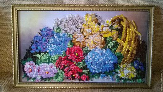Картины цветов ручной работы. Ярмарка Мастеров - ручная работа. Купить Корзина с цветами. Handmade. Комбинированный, картина для интерьера