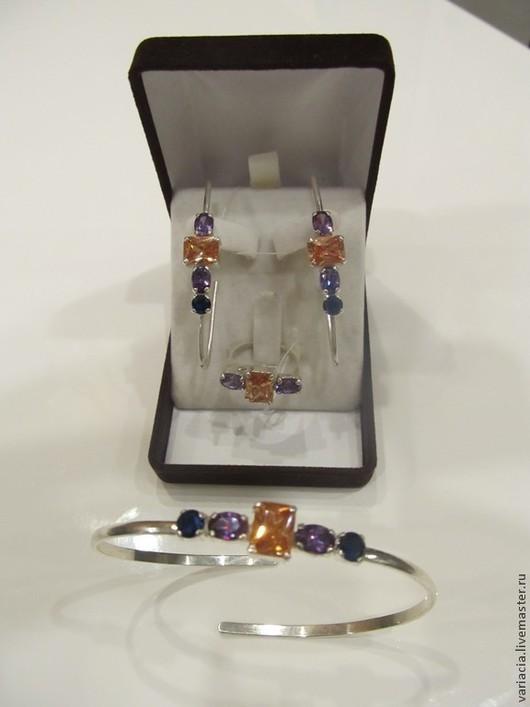 """Комплекты украшений ручной работы. Ярмарка Мастеров - ручная работа. Купить комплект серебряный """"булавки"""":серьги, кулон, кольцо, браслет. Handmade."""