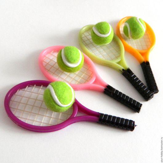 Куклы и игрушки ручной работы. Ярмарка Мастеров - ручная работа. Купить Теннисные ракетки и мячи. Handmade. Фиолетовый, мяч