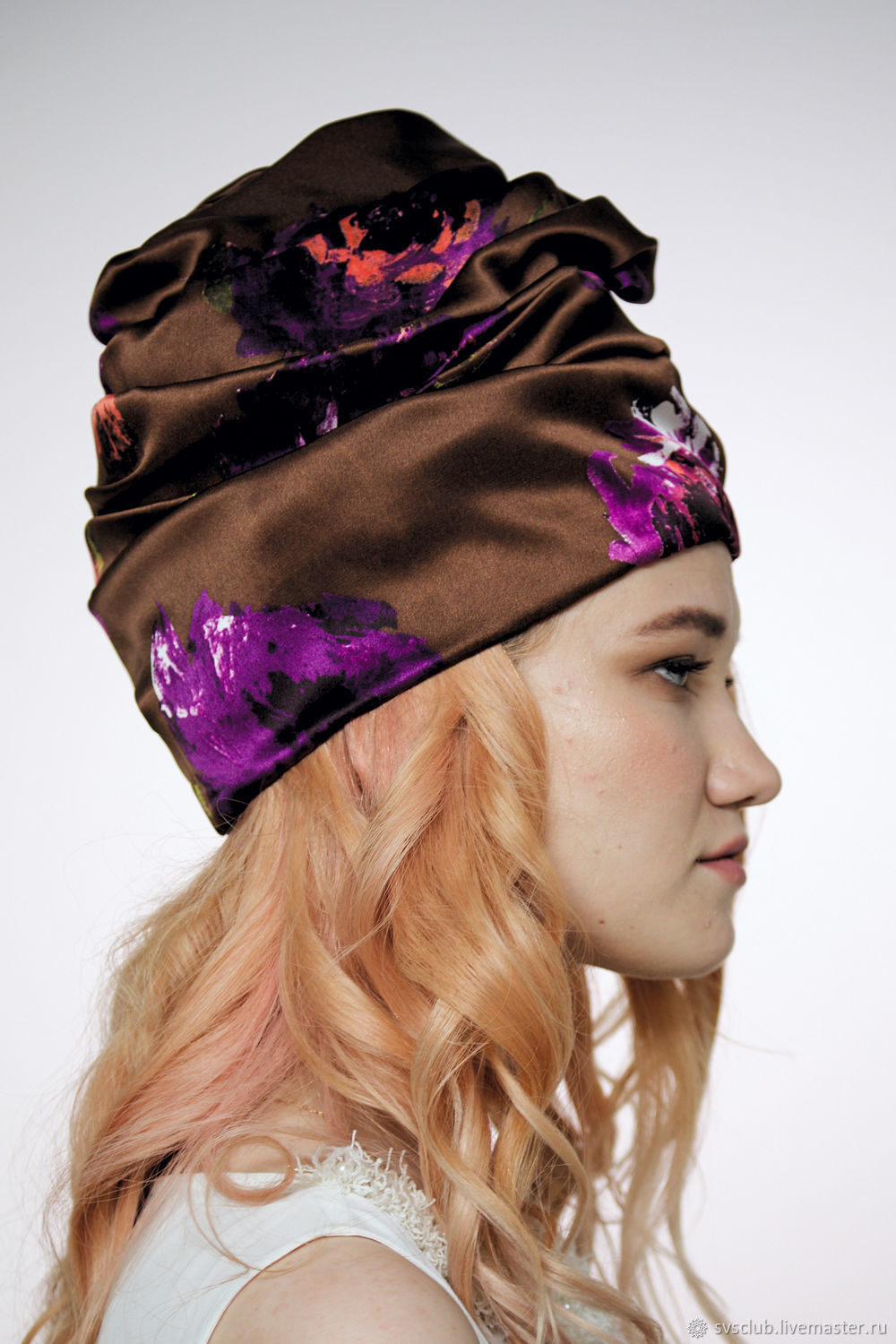 91b949d94ed Online shopping Hats handmade. Order Turban hat hijab millinery Brown with  flowers. TURBAN SVS.