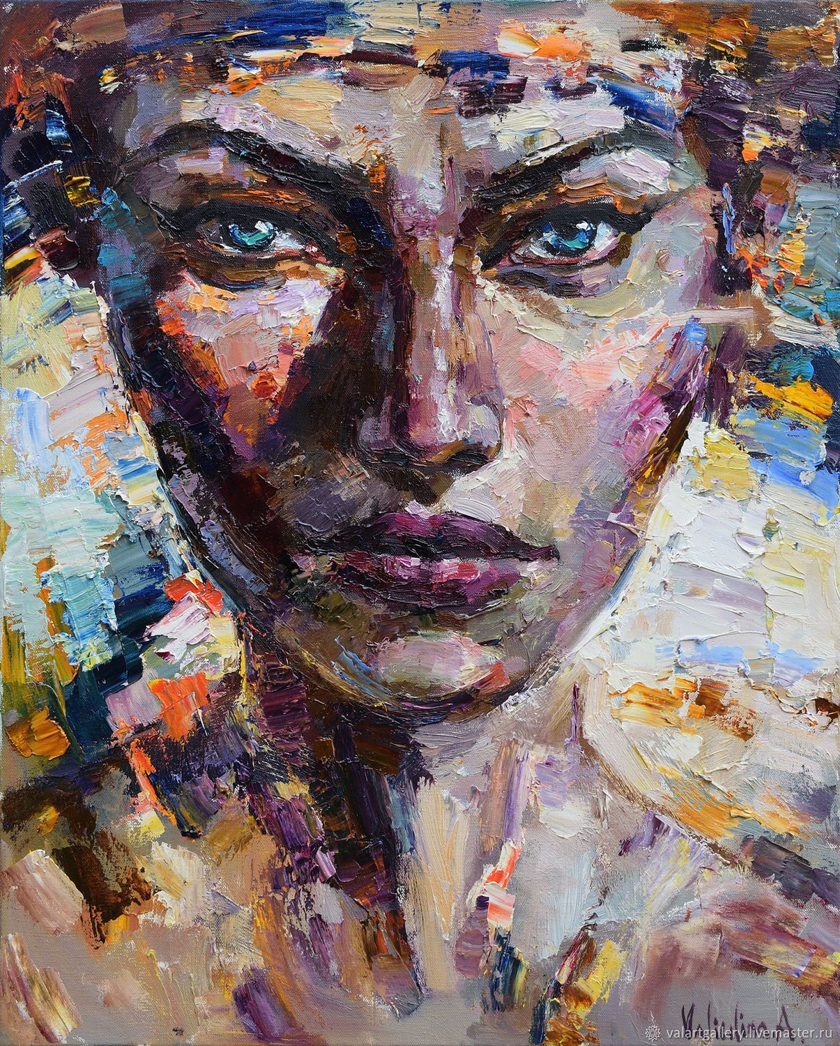 Turquoise eyes abstract woman portrait shop online on for Selling oil paintings online