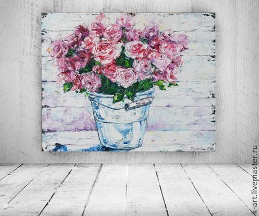 Картины цветов ручной работы. Ярмарка Мастеров - ручная работа. Купить Цветы любви. Handmade. Фуксия, картина в подарок, гостиная