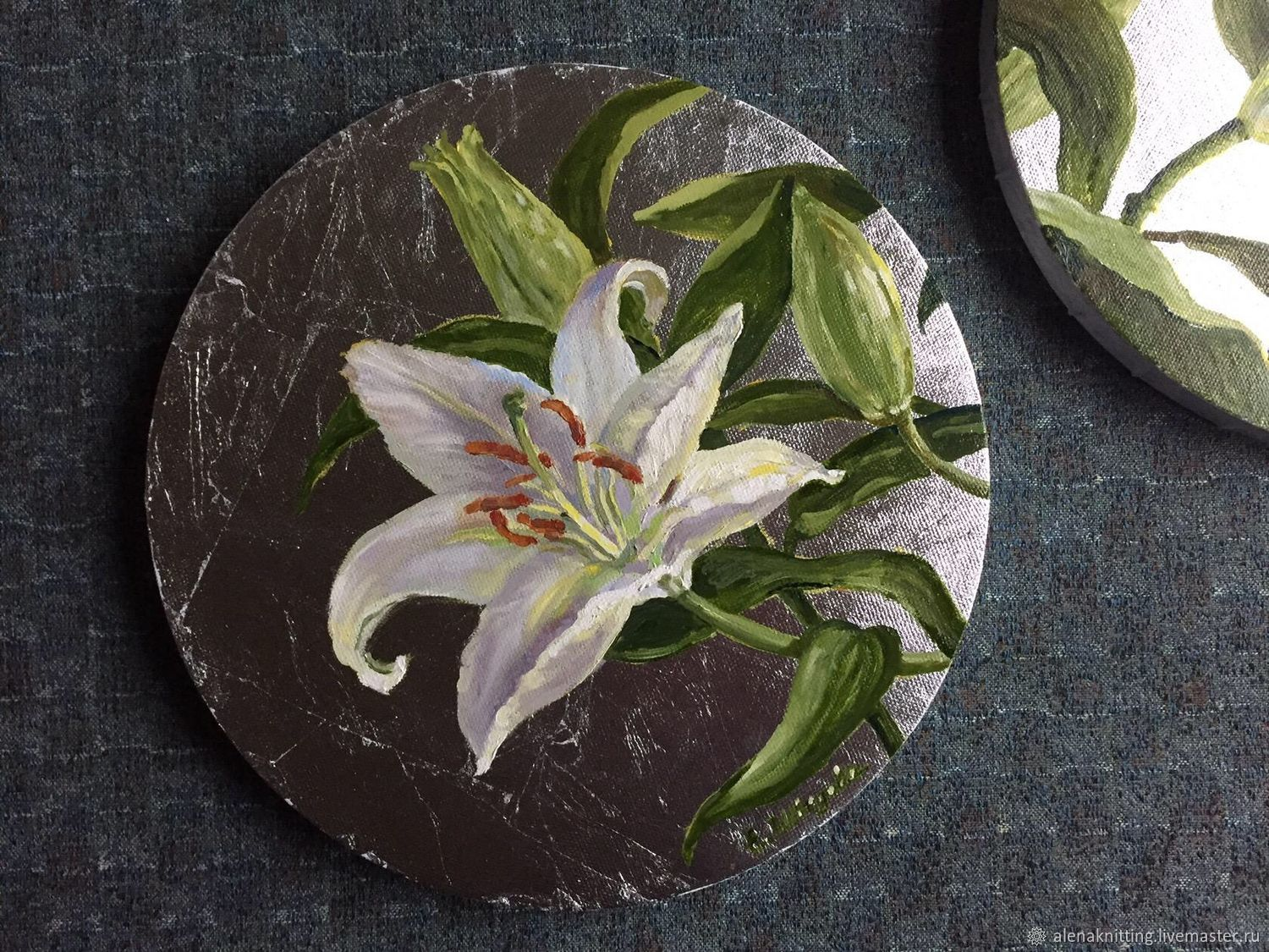 Interior round picture of the Diptych 'Silver and lilies», Pictures, Moscow,  Фото №1