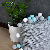 Для дома и интерьера handmade. Livemaster - original item Garland of thread balls, glowing blue-gray lanterns, decor. Handmade.