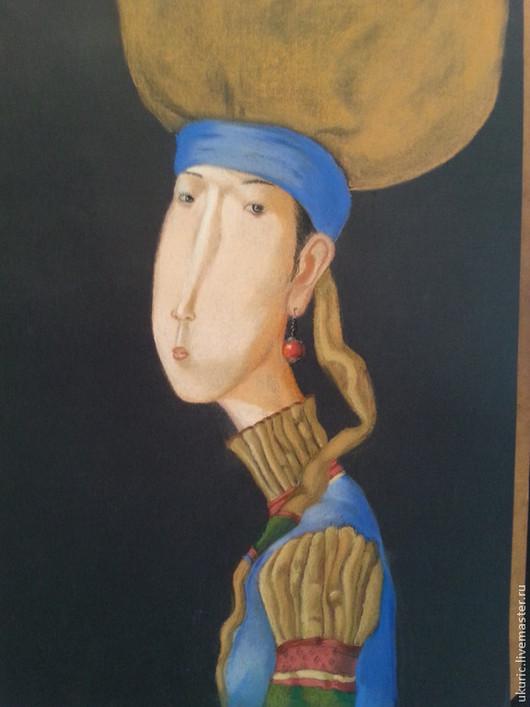 Репродукции ручной работы. Ярмарка Мастеров - ручная работа. Купить картина пастель. Handmade. Синий, пастель, девушкам, интерьерная картина
